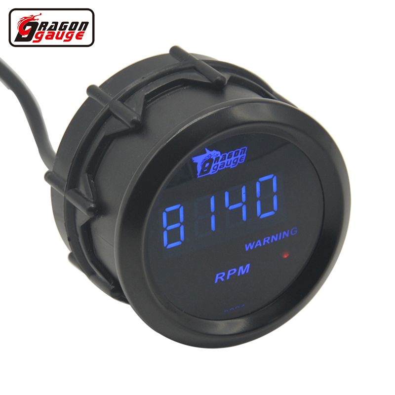 Dragon meter Universele 52mm zwarte schaal en blauwe LED backLight digitale toerenteller Gauge 0-9999 RPM Gratis verzending