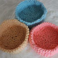Wholesale 3pc/Lot Various Colors Knitted Thick Yarn Basket Baby Photography Bowl Newborn Pod