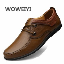 Large Size 38-45 Genuine Leather Flats Men Dress Shoes 2017 Spring/Autumn Fashion Round Toe Lace-Up Casual Shoes Men