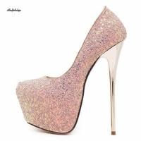 Wedding Stiletto Flock zapatos mujer Plataforma Plus:34 41 42 16cm thin heel shoes women Round Toe pumps Chaussure Femme Mariage