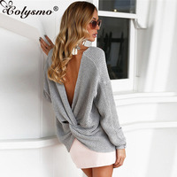Colysmo Autumn Pullovers Women Sweaters Knitted Sweater Bacless V Neck Sexy Pullovers Long Sleeves Both Front And Back Sweaters