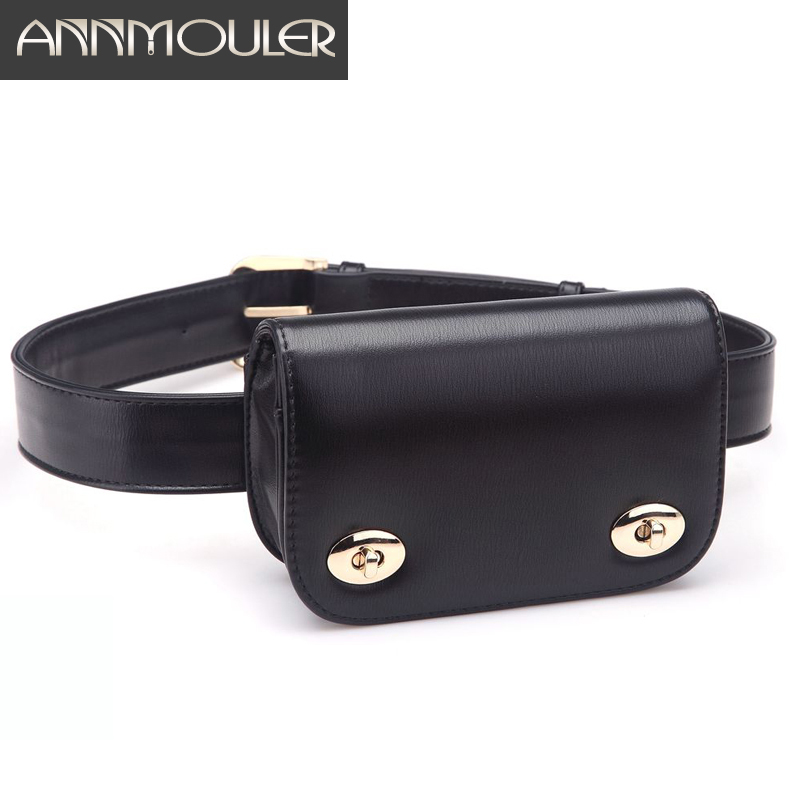 Annmouler New Fashion Bags For Women PU Leather Fanny Packs High Quality Waist Belt Bag Adjustable Waist Pouch Phone Bag