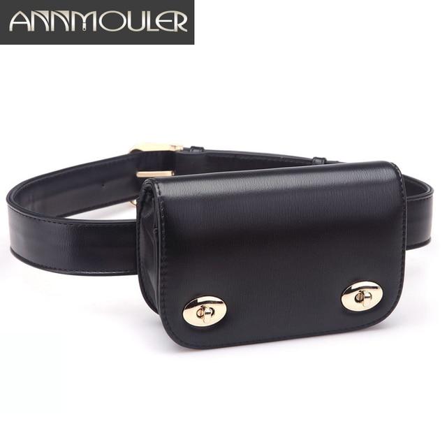 4c2bba38d3 Annmouler Nouvelle Mode Sacs pour Femmes PU En Cuir Fanny Packs Haute  Qualité Taille Ceinture Sac