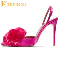 Kmeioo 2018 Pumps For Women Puff Pompom Slingback Pumps Ankle Strap High Heels Pointed Toe Stiletto Evening Wedding Shoes 10CM