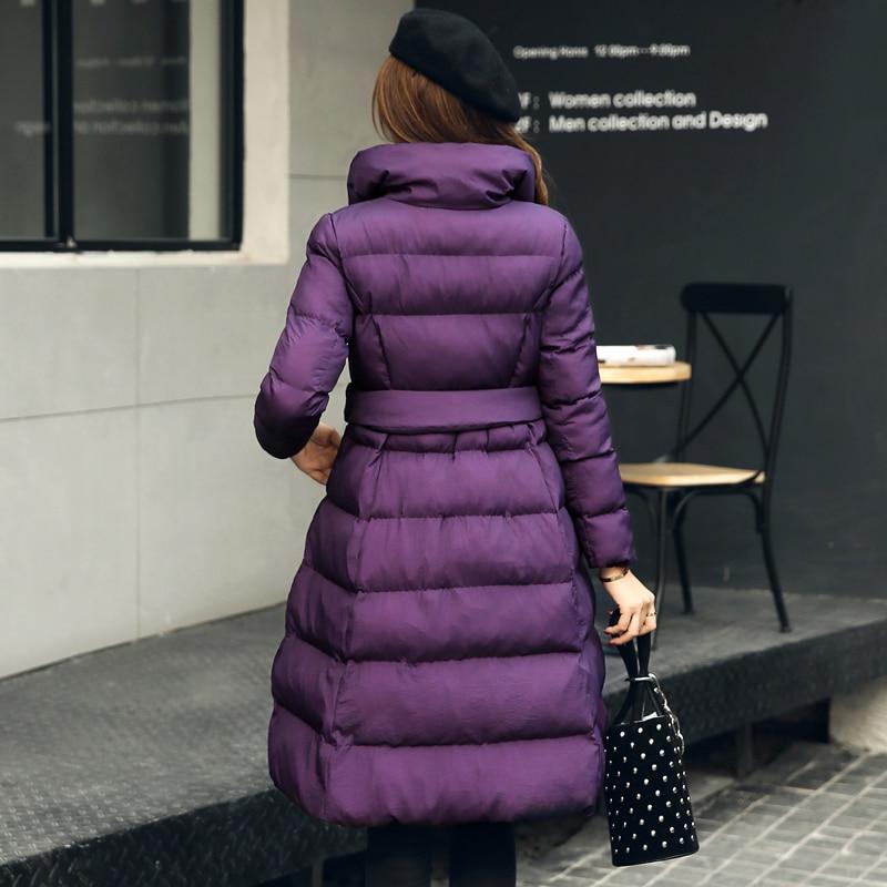 Manteaux Élégant Col Veste L236 2017 Parkas Bas Hiver Pardessus Black Épais Le Mince Long dark Couleurs Coton 3 Vers Purple Roulé brown Droite Femme Style 4CxCrqft