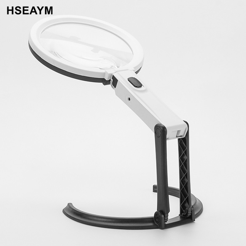 3B-1D Desk Handhold Magnifier Adjustable Foldable Lighting Magnifier Reading Repair Magnifying Glass Jewelry Loupe