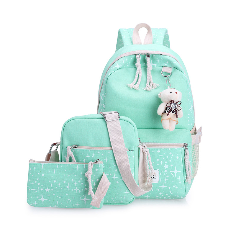 2017 4Pcs Korean Casual Women Backpacks Canvas Book Bags Preppy Style School Back Bags for Teenage