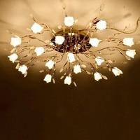 Europese Woonkamer Kristallen Plafondlamp Gecontracteerd Zoete Restaurant Slaapkamer Kroonluchter LED Afstandsbediening Bloem Huis Lamp|Plafondverlichting|Licht & verlichting -