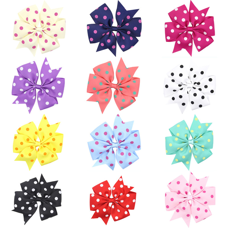 4 3 Hair Ribbon Bows dot Hair Clips Boutique Girls big Bow dots candy color hairpins