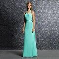 Brilhante elegante Longo Verde Da Dama de Honra Vestidos 2017 de Alta Qualidade Chiffon Plissado Uma Linha de Vestido de Festa de Casamento Vestidos