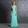 Elegant Bright Green Long Bridesmaid Dresses 2017 High Quality Pleated Chiffon A Line Wedding Party Dress Gowns