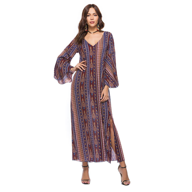 fashionable dress women wholesale 2018 Spring Dress Women summer dress New style Horn sleeve printing dress Super long Big  NY19