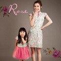 Семья стиль соответствия мать и дочь платья китайский стиль печать хлопок Cheongsam с коротким рукавом платье мама и дочь