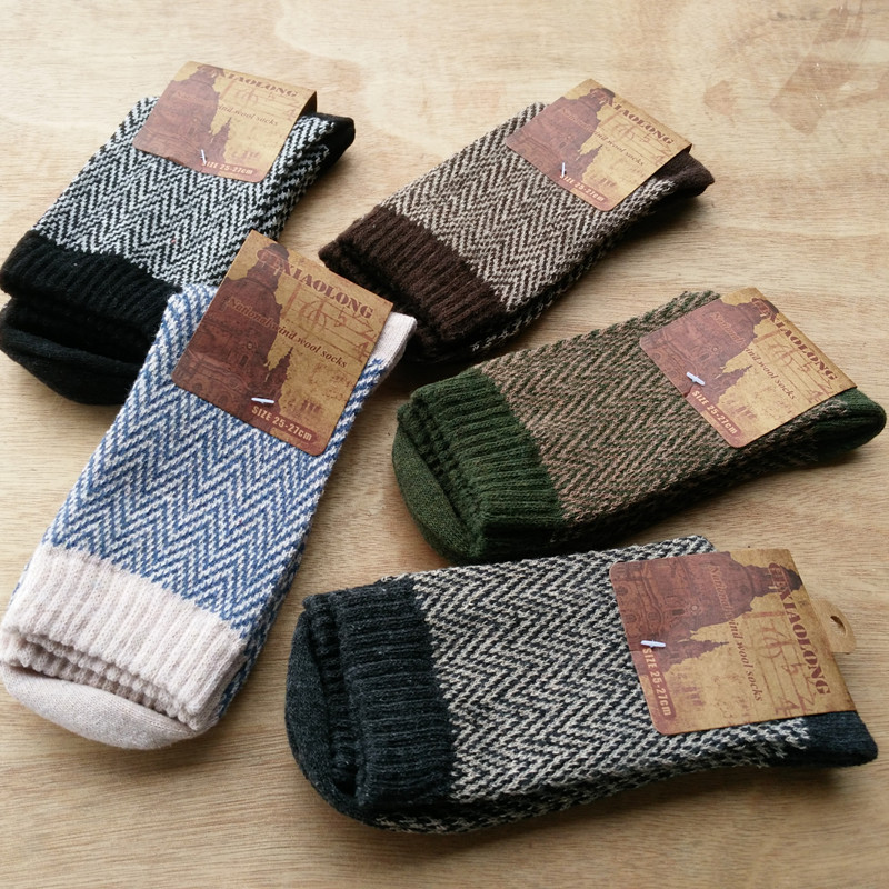 PEONFLY Autumn Winter Pattern Man Wool Comfortable Wind Soft happy funny mens Socks men cotton 5PAIRS/LOT
