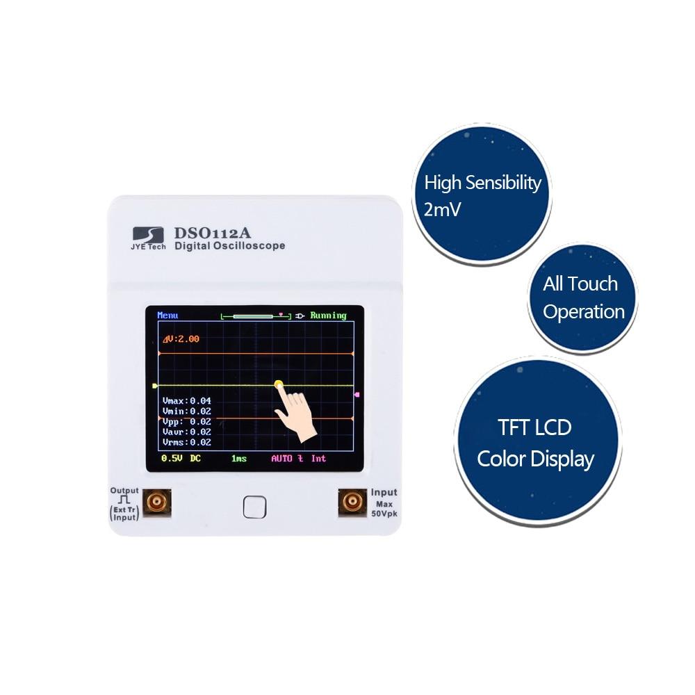 Portable Touch Screen Mini Digital Oscilloscope DSO112A TFT USB Oscilloscope Interface 2MHz 5MspsPortable Touch Screen Mini Digital Oscilloscope DSO112A TFT USB Oscilloscope Interface 2MHz 5Msps