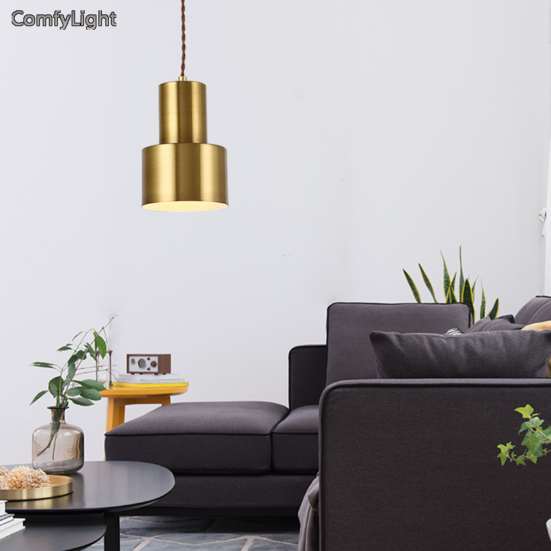 Gold colour pendant light American Country Style Loft E27 socket cement lamp holder indoor Decoration led Hanging light fixture