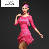 2018 Summer New Item In The Sleeve Sexy Sequin Lace Open Tassel Dress Latin Dance Competition