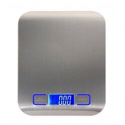 デジタル多機能食品キッチンスケール、ステンレス鋼、 11lb 5 キロステンレス鋼のプラットフォームと Lcd ディスプレイ (シルバー)