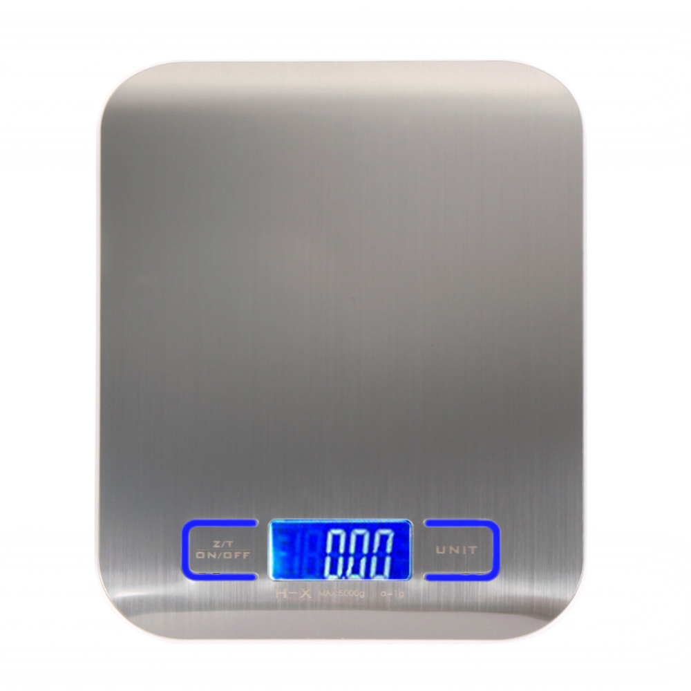 Multi-función Digital cocina de alimentos, acero inoxidable, 11lb 5 kg plataforma de acero inoxidable con pantalla LCD (Plata)