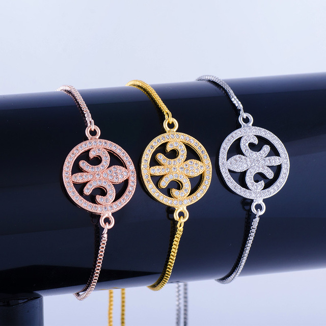 Hot Jewelry Vintage Zircon Anchor Charms Bracelets Bangles Handmade Copper Pave Square Chain Friendship