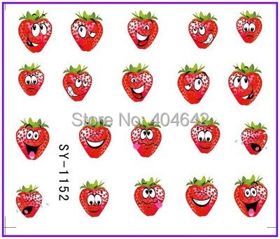 1X  Nail Sticker Smiling Angry Strawberry Water Transfers Stickers Nail Decals Stickers Water Decal Opp Sleeve Packing SY1152 1x nail sticker palm tree flamingos water transfers stickers nail decals stickers water decal opp sleeve packing yu665