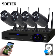 SDETER 4CH Wireless NVR Kit Outdoor Waterproof IP Camera Security Camera System IR Night Vision Surveillance Camera System Kits