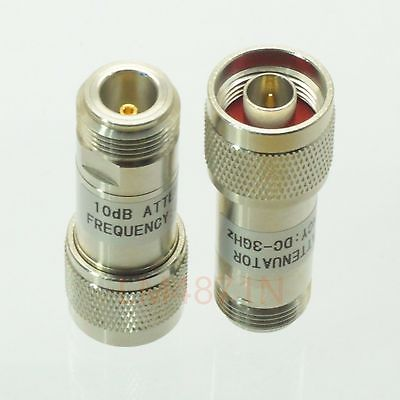 Hot Factory Direct Wholesale 1pce Attenuator 2W 2 Watts DC-3 Ghz 10dB N RF coaxial Power plug M to jack F 50resistance image
