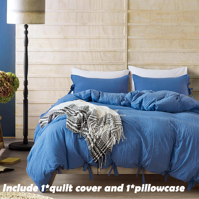 EHOMEBUY New Bedding Sets US Size Mystic Sea Blue 1 Quilt Cover And 1 Pillowcase Solid Color Cotton Bandage Comfortable
