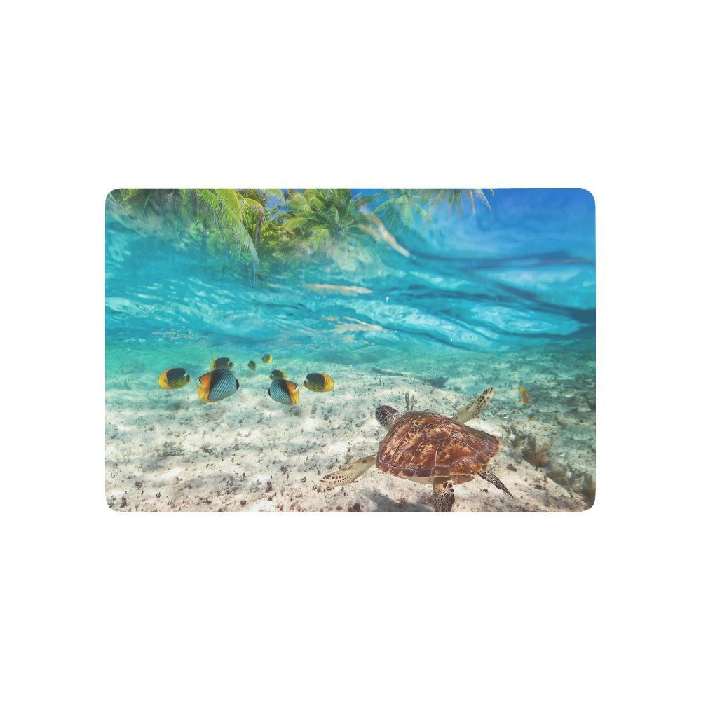 Sea Turtle Swimming At Tropical Island Anti Slip Door Mat Home Decor, Palm  Tree Seascape Indoor Outdoor Entrance Doormat In Mat From Home U0026 Garden On  ...