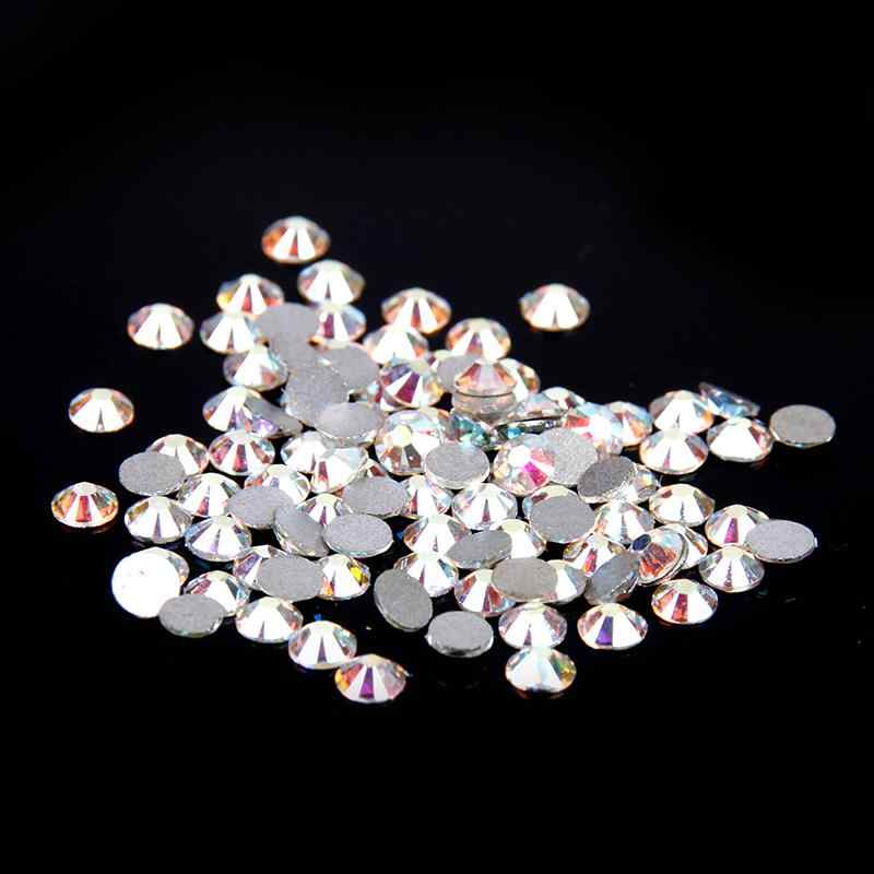 Non Hotfix Crystal Rhinestones White Crystal AB SS3-S50 Flatback Glue On Strass Diamonds Many Sizes For 3D Nails Art Decorations