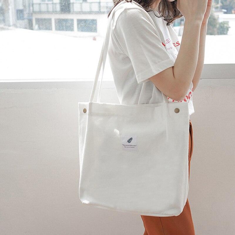 Hylhexyr Handbags Reusable Shopping Bag Solid Cloth Bags Portable Hasp Canvas Shoulder Bag Simple Style Leisure Tote