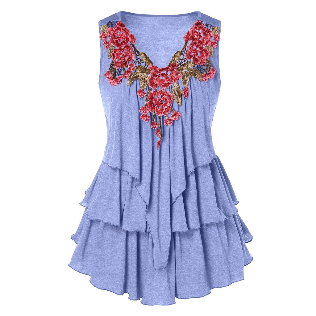 JAYCOSIN 2019 New Summer Women Tank Tops Sexy Fashion Oversize Sleeveless Floral Hollow Out Embroidered Layered Casual 9041121