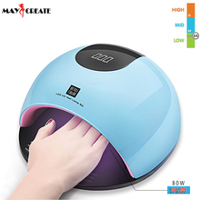 MayCreate 80W UV lamp LED Nail Dryer Quick Dry Blue Red White Nails Tools For Gel Polish Sun Lamp