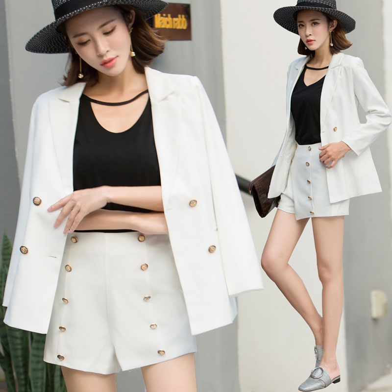 ELegant Office Lady Short Suit Set Women 2 Piece Set white Color Jacket Blazer+High Waist Short Pant Suits Female Women's Sets