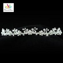 Peacock star partido nupcial de la boda de dama de honor de calidad flores de cristal tiara diadema ct1132