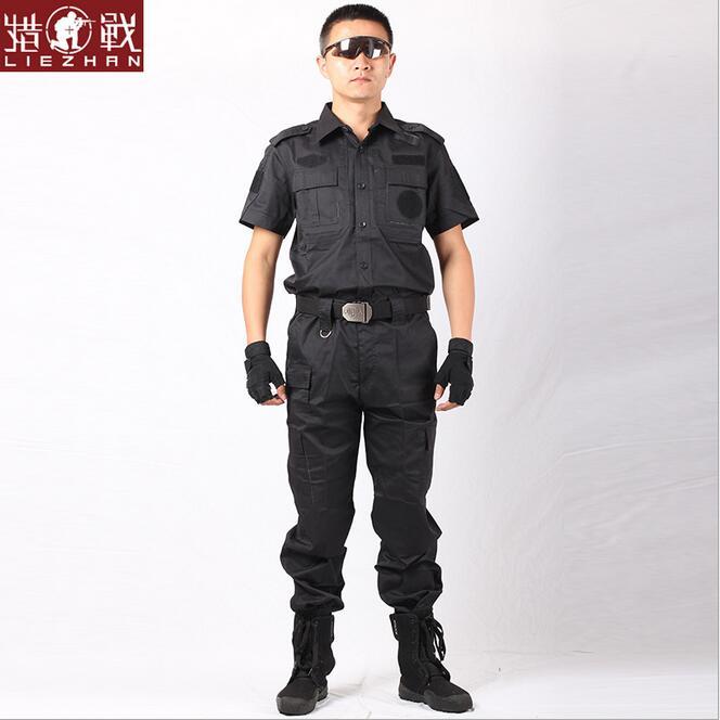 Uniforme de entrenamiento secreto traje militar de manga corta negro uniformes de combate uniformes de seguridad