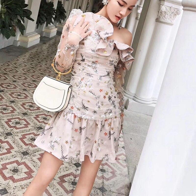 Robe à volants D'été Femmes Sexy robe asymétrique Maille robes brodées