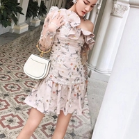 Self Portrait Ruffle Dress 2018 Summer Womens Sexy One Shoulder Mesh Embroidered Dresses