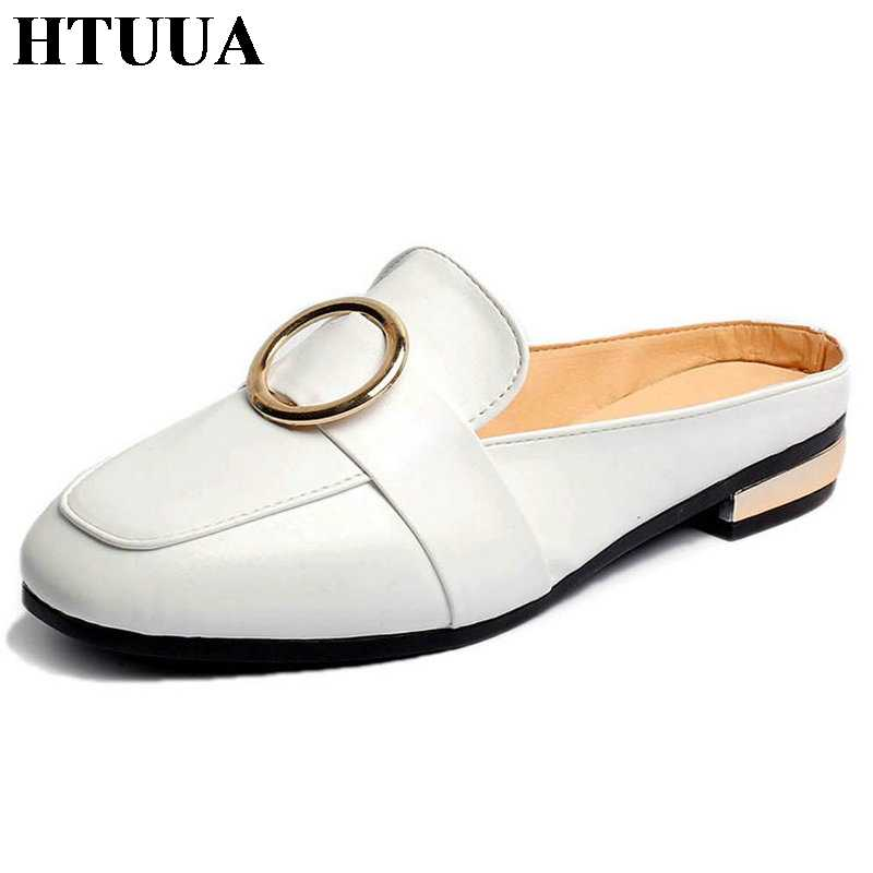 356a4ab0e HTUUA 2019 New Summer Women Slippers Slip On Flat Mules Shoes Fashion  Buckles Ladies Slides White