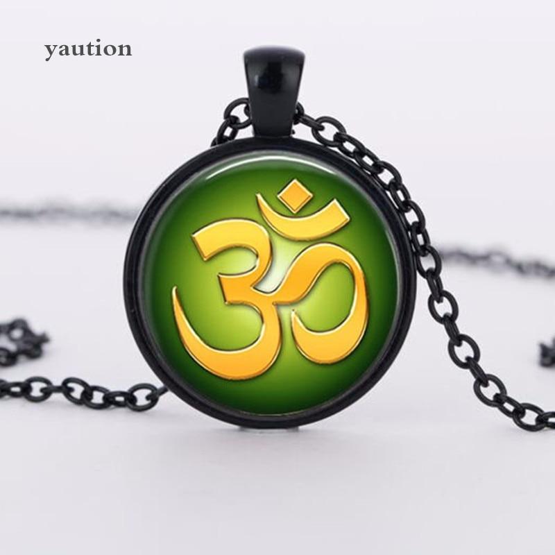 Mens necklace Vintage Necklace Buddhism Zen Glass Pendant Flower Muslim Necklaces Meditation Mandala Collar Necklace