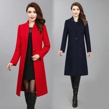 Casaco de lã grossa grande tamanho das mulheres de meia idade outono e inverno novo casaco de lã de lã de moda Europeus e Americanos AL7818