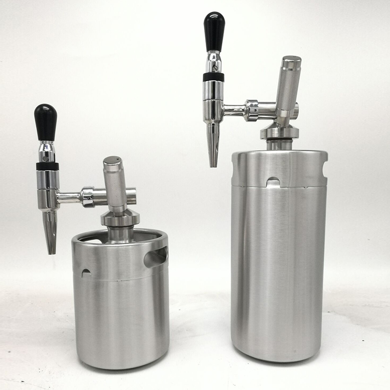 2L Mini Keg Beer Growler Stainless Steel Barrel Nitro Regulator Stout Tap