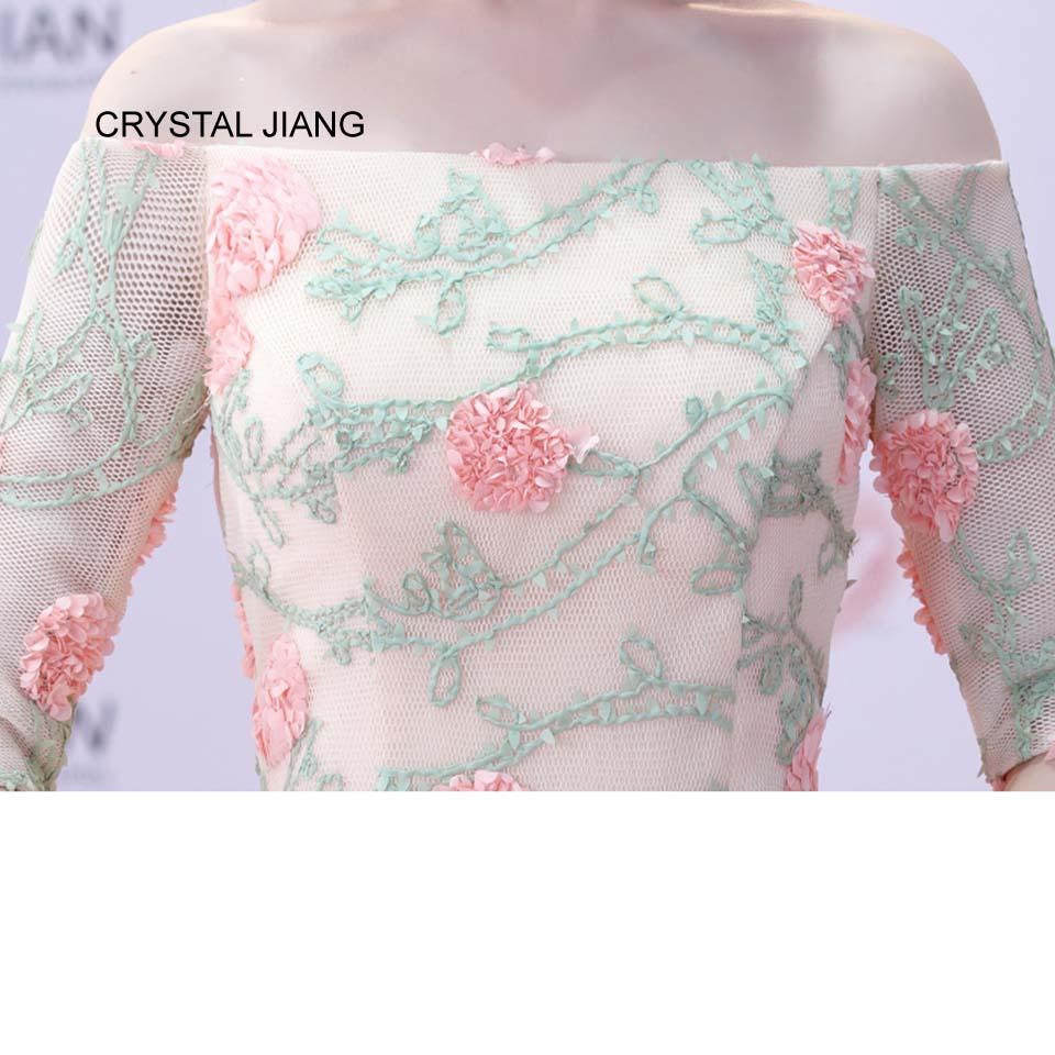 CRYSTAL JIANG 2018 Van de schouder 3D Bloemen Natuurlijke Taille Voor - Bruiloft feestjurken - Foto 6