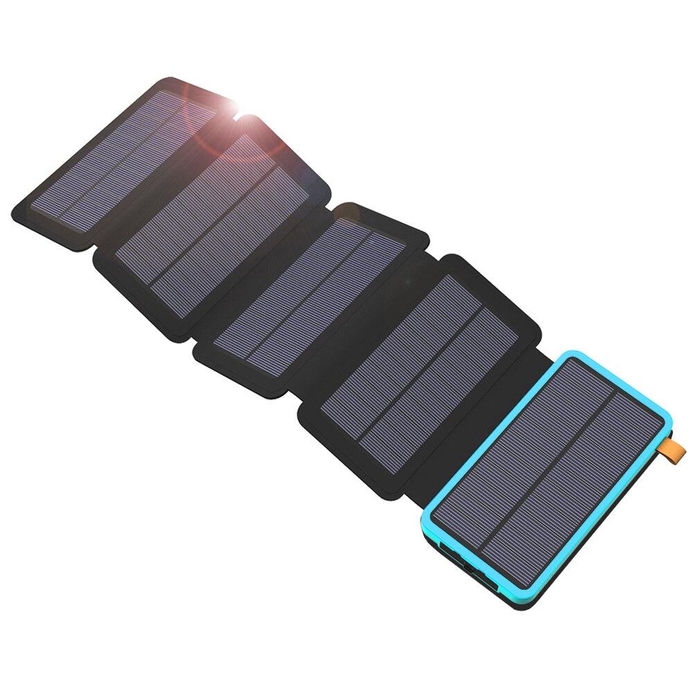 Batterie portable solaire 20000 mAh panneau solaire imperméable Puissance Chargeur batterie externe pour iPhone iPad Samsung téléphone portable En Plein Air