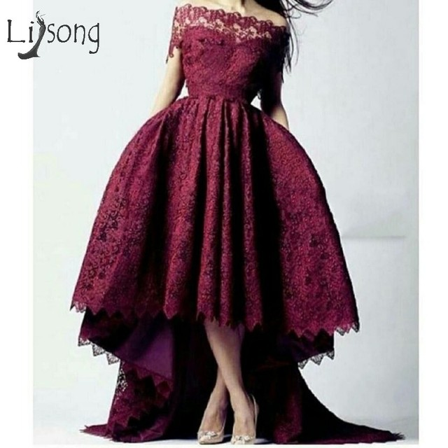 Burgundy Lace High Low Prom Dresses 2018 Boat Neck Off Shoulder Long Prom Gowns  Robe De Soiree Abiye 2018 Evening Gowns 069c41b965f8