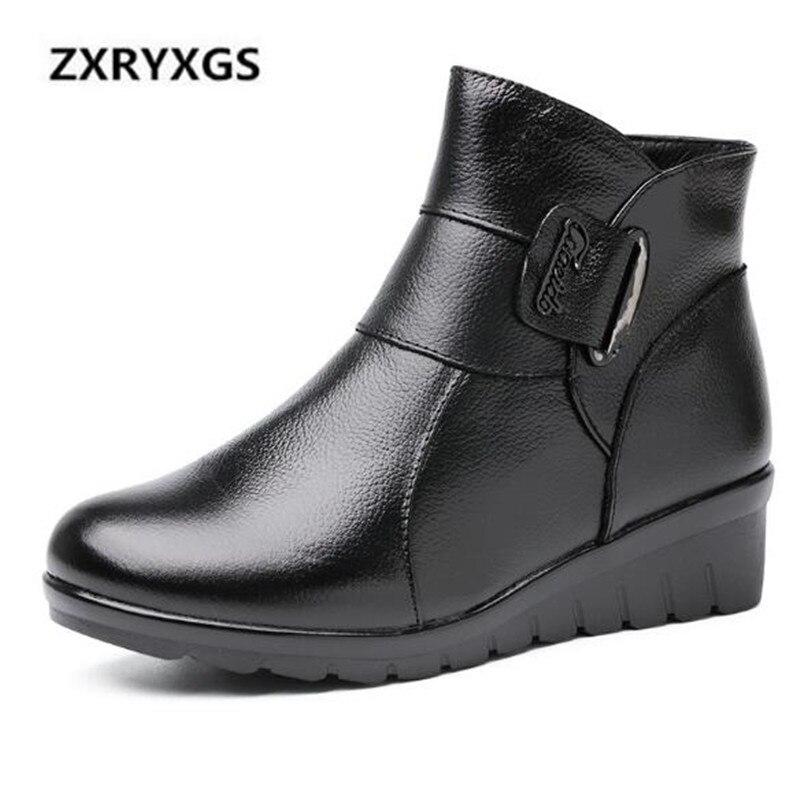 marrón Casual Botas Caliente Mujeres De Suave Cómodos Hebilla Antideslizantes Botines Nuevo Vaca Negro Zapatos Cuero 2018 Invierno Mujer 6TxFqPEn7w
