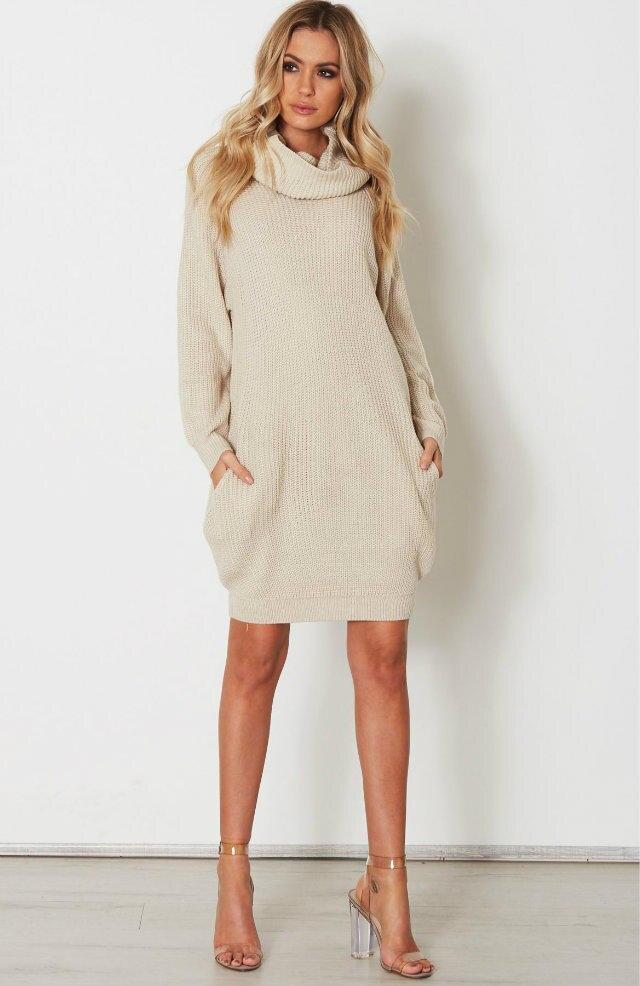 Для женщин платье-свитер 2017, Новая мода повседневные плюс Размеры водолазка карман с длинным рукавом свободные свитера Трикотаж оптом xds-2