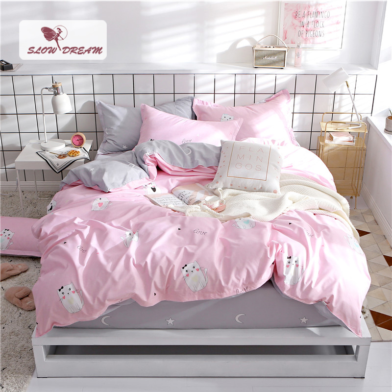 SlowDream Cartoon Cat Bed Cover Set Home Textiles Decorative Duvet Cover Fitted Sheet Double Sheets On