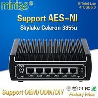 pfsense computers intel Skylake celeron 3855u dual core fanless mini pc 6 gigabit lans firewall router support AES NI 4*USB3.0