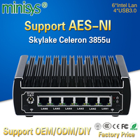 pfsense computers intel Skylake celeron 3855u dual core fanless mini pc 6 gigabit lans firewall router support AES NI 4*USB3.0